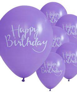Pick & Mix Party Happy Birthday Purple Printed Latex Balloons