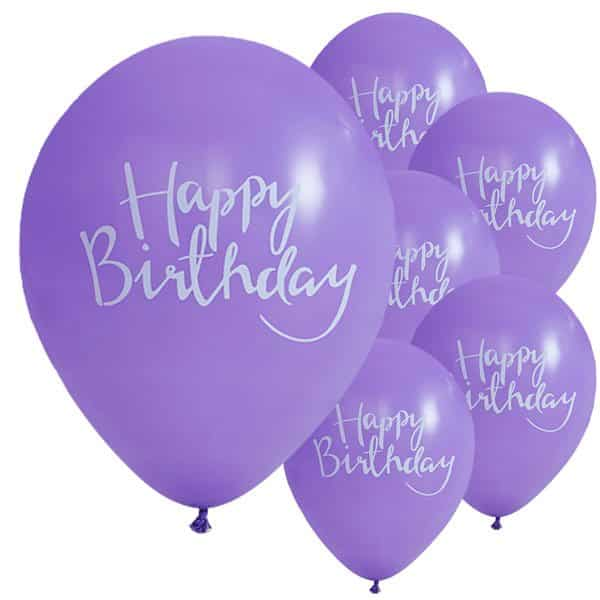 Pick & Mix Party Happy Birthday Purple Printed Latex Balloons