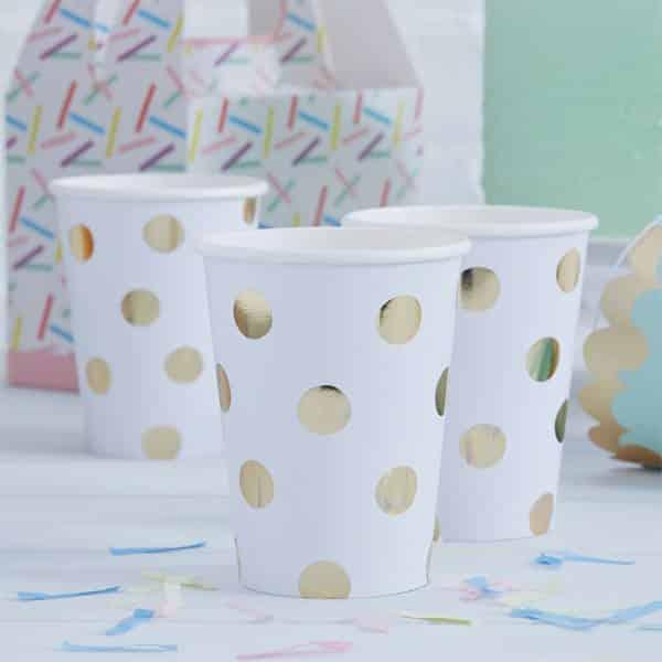 Pick & Mix Party White Metallic Polka Dot Paper Cups