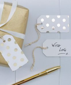 Pick & Mix Party White Metallic Polka Dot Luggage Tags