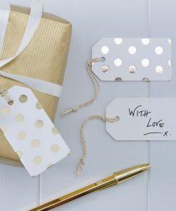 Pick & Mix Party White Metallic Polka Dot Luggage Tags