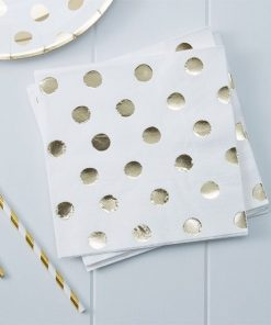 Pick & Mix Party White Metallic Polka Dot Paper Napkins