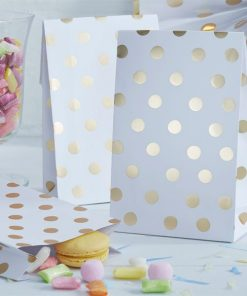 Pick & Mix Party White Metallic Polka Dot Paper Party Bags