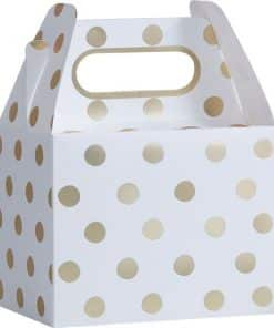 Pick & Mix Party White Metallic Gold Polka Dot Party Boxes