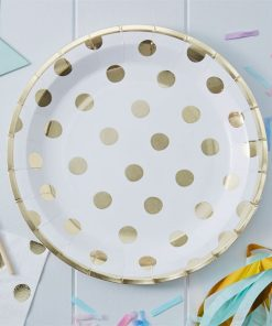 Pick & Mix Party White Metallic Polka Dot Paper Plates