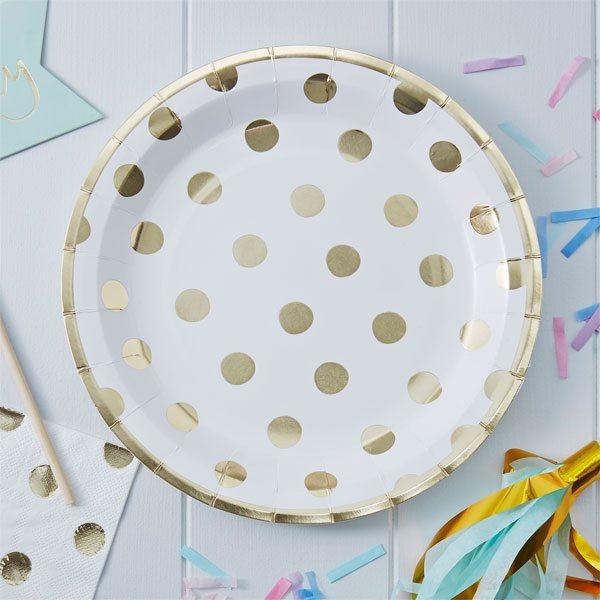 Pick & Mix Party White Metallic Polka Dot Paper Plates
