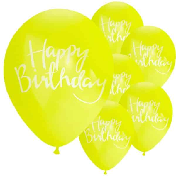 Pick & Mix Party Happy Birthday Yellow Printed Latex Balloons