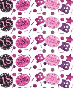 Pink Celebration Party Age 18 Confetti