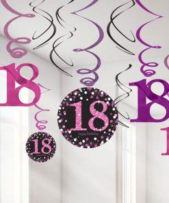 Pink Celebration Party Age 18 Hanging Swirls Decorations