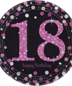 Pink Celebration Party Age 18 Paper Plates