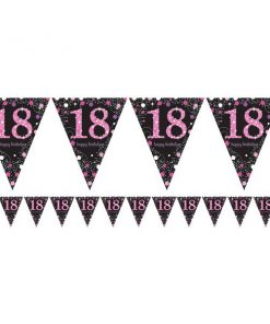 Pink Celebration Party Age 18 Prismatic Foil Bunting