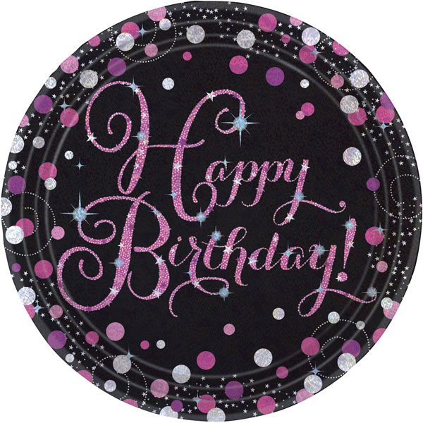 Pink Celebration Party Happy Birthday Prismatic Plates