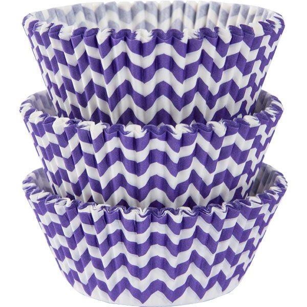 Purple Chevron Cupcake Cases
