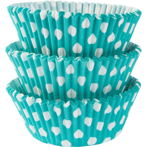 Robins Egg Blue Dot Cupcake Cases