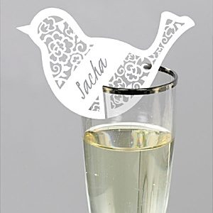 Wedding Something in the Air Bird White Place Cards for Glasses