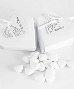 Wedding Something in the Air White Heart Favour Boxes