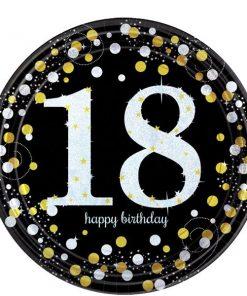 Sparkling Celebration Age 18 Party Paper Plates