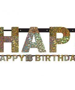 Sparkling Celebration Party Age 18 Prismatic Letter Banner