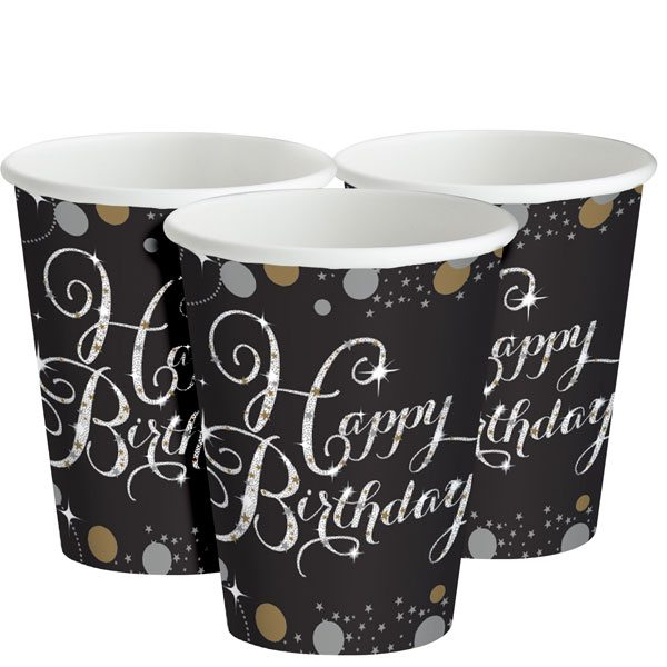 Sparkling Celebration Party Happy Birthday Paper Cups