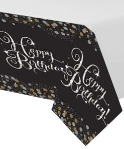 Sparkling Celebration Party Happy Birthday Plastic Tablecover