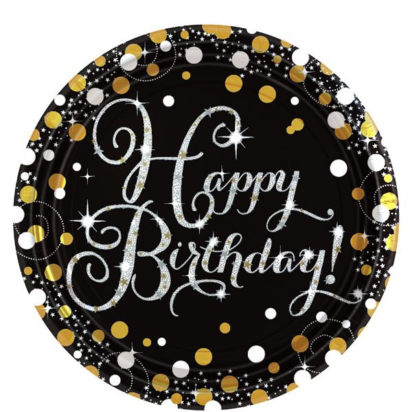 Sparkling Celebration Party Happy Birthday Prismatic Paper Plates