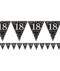 Sparkling Celebration Party Age 18 Prismatic Foil Bunting 1.8m