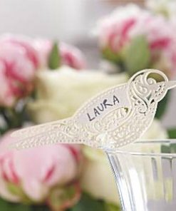 Wedding Vintage Lace Ivory Bird Place Cards for Glasses