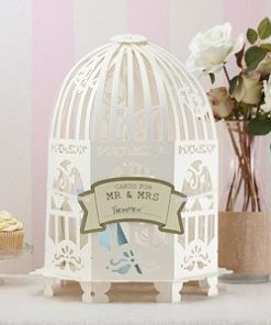 Wedding Vintage Lace Birdcage Ivory Wedding Card Holder