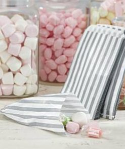 Wedding Vintage Lace Silver Stripe Candy Bags
