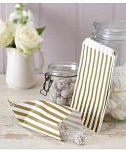 Wedding Vintage Lace Gold Stripe Candy Bags