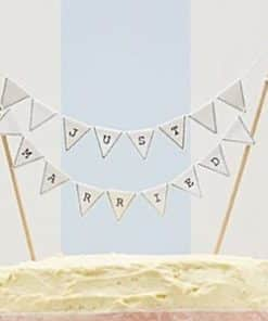 Wedding Vintage Lace 'Just Married' White Cake Bunting