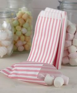 Wedding Vintage Lace Pink Stripe Candy Bags