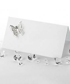 Wedding Elegant Butterfly Silver Place Cards 3d
