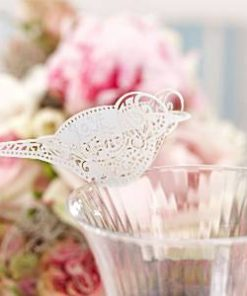 Wedding Vintage Lace White Bird Place Cards for Glasses