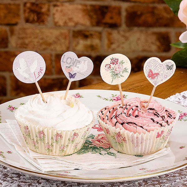 Wedding With Love Cake Picks