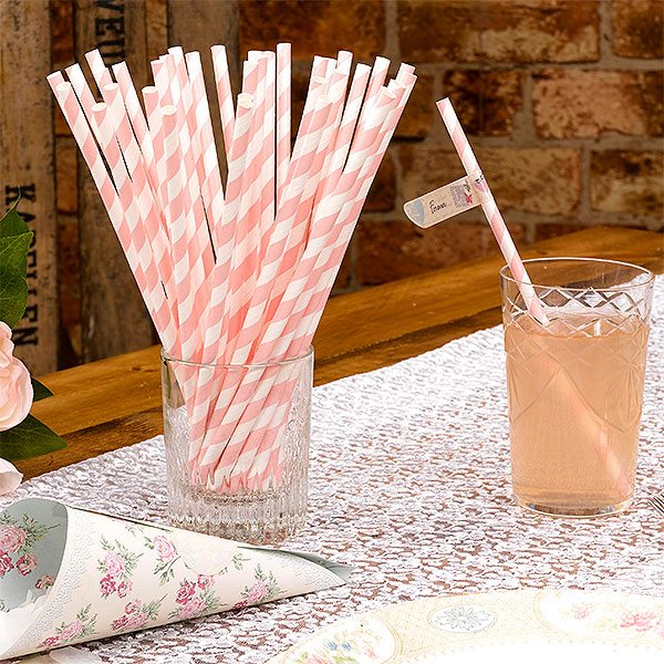 Wedding With Love Paper Straws