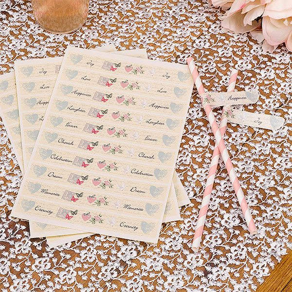 Wedding With Love Straw Flags