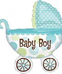 Baby Buggy Boy Supershape Foil Balloon