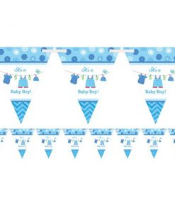 Boy's Shower With Love Party Flag Bunting
