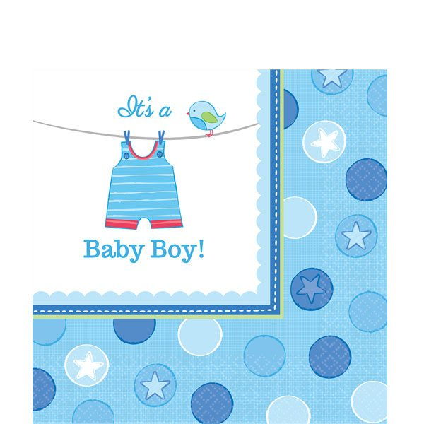 Boy's Shower With Love Party Lunch Paper Napkins