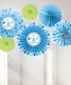 Boy's Shower With Love Party Paper Fans