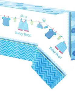 Boy's Shower With Love Party Plastic Tablecover