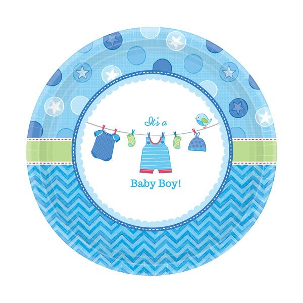 Boy's Shower With Love Plates - 17cm