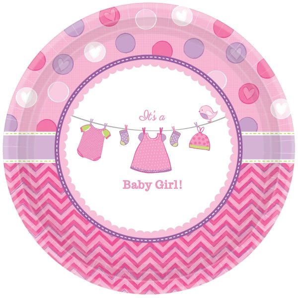 Buy Girl's Shower With Love Baby Shower Plates
