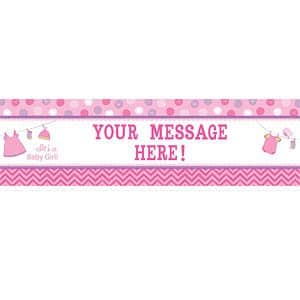 Girl's Shower With Love Party Personalised Giant Banner