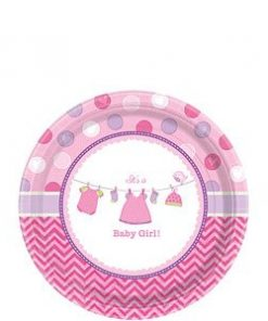 Girl's Shower With Love Party Paper Plates
