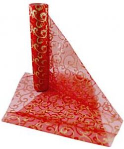 Gold & Red Swirl Organza Sheer Roll