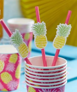Hot Pink Straws with Pineapple Flags