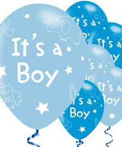 Boy's Shower With Love Party Printed Latex Balloons