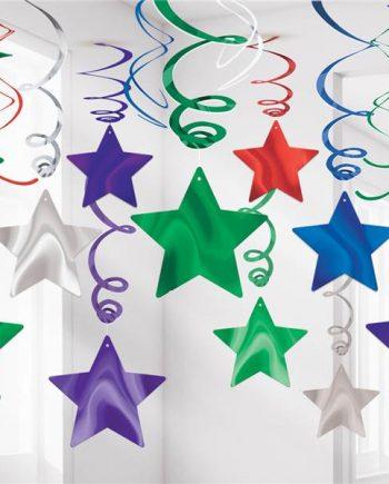 Multicoloured Star Hanging Swirls Decoration - 60cm